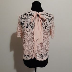 Nanette Lepore Sheer Pink Lace Bow Tie Back Top S